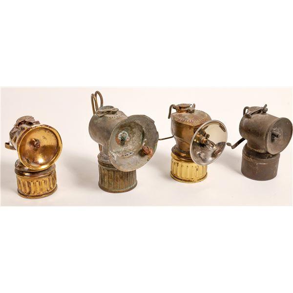 Miner's Carbide Lamps - 3 JustRite, 1 Unknown  [132532]