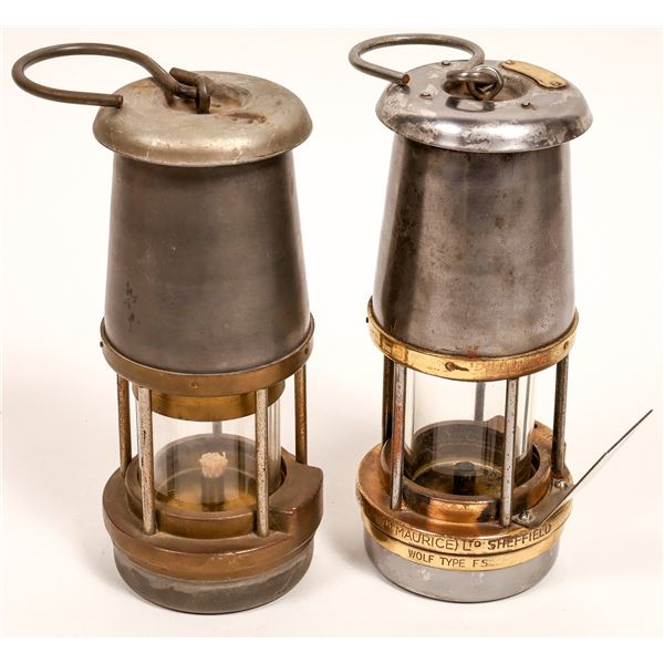 Wolf Safety Oil Lamps - Nearly Matched Pair  [132428]