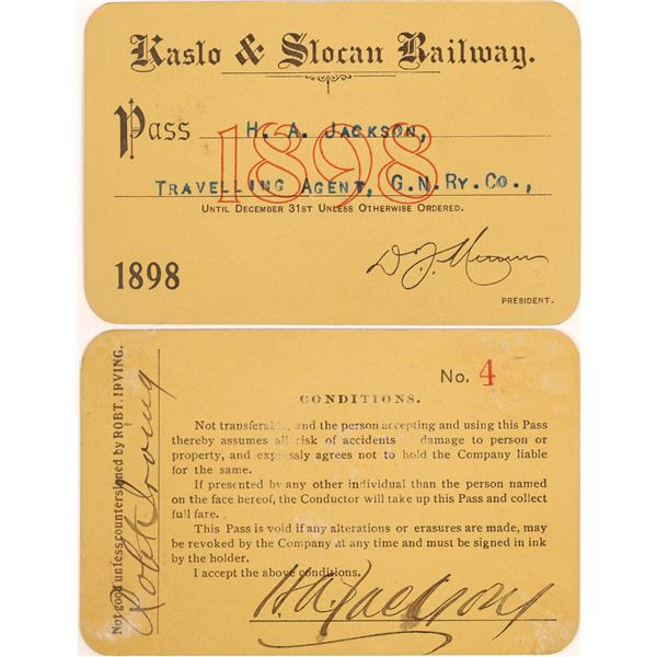 Kaslo & Slocan Railway Annual Pass (Canadian Mining RR)  [134084]
