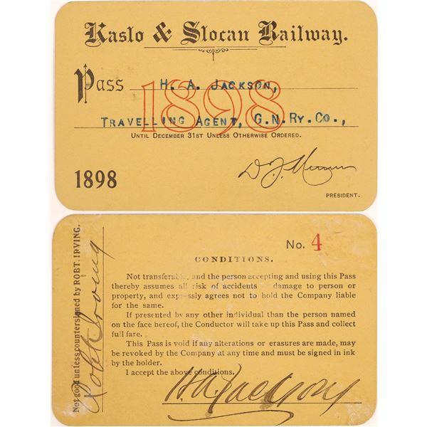 Kaslo & Slocan Railway Annual Pass (Canadian Mining RR)  [134084]