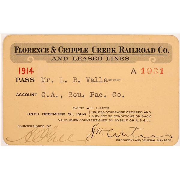 Florence & Cripple Creek Railroad Co. Annual Pass  [134083]