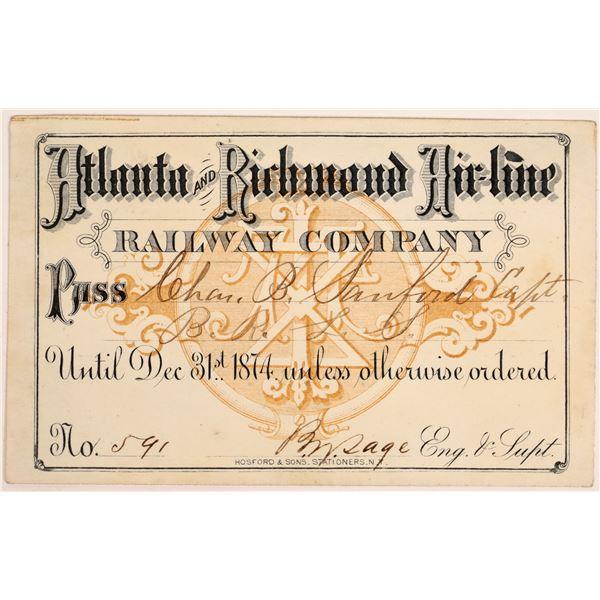 Atlanta & Richmond Air-line Railway Co. Annual Pass   [134101]