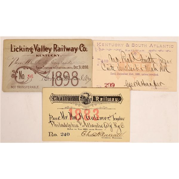 Three Different Kentucky Railroad Passes  [134094]