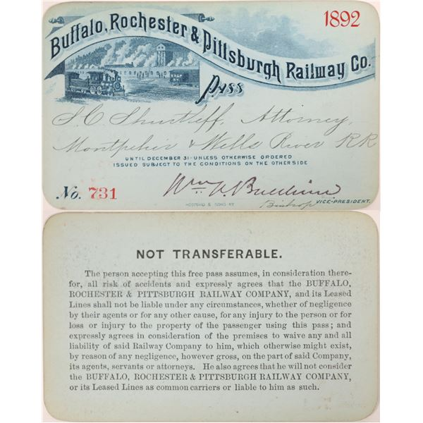 Buffalo, Rochester & Pittsburgh Railway Co. Annual Pass  [134087]