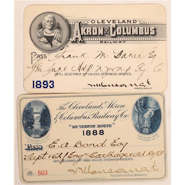 Cleveland, Akron & Columbus Railway Pass Pair  [134095]
