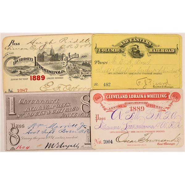 Four Nice 1880s Ohio Railroad Passes  [134092]