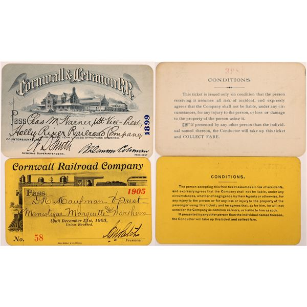 Two Different Pictorial Cornwall Railroad Passes  [134089]