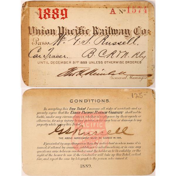 Union Pacific Railway Company Annual Pass, 1889  [129550]