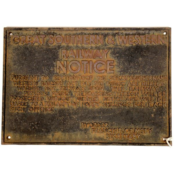 Great Southern & Western RW Iron Sign  [133729]