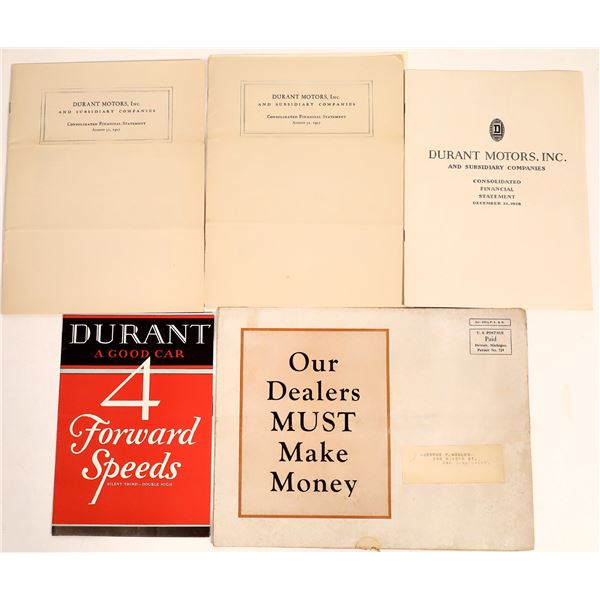 Durant Motor Cars Sales Literature and Consolidated Financial Statement for 1927  [132935]