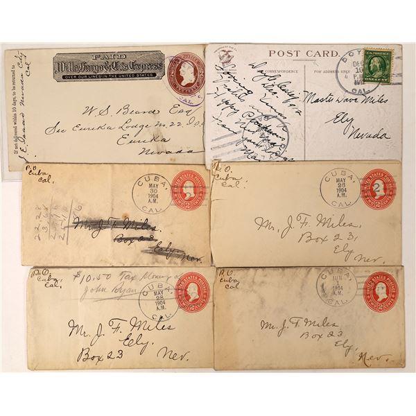Six California Postal History Covers: 4 Cuba, 1 Doyle and 1 Nevada City  [130010]