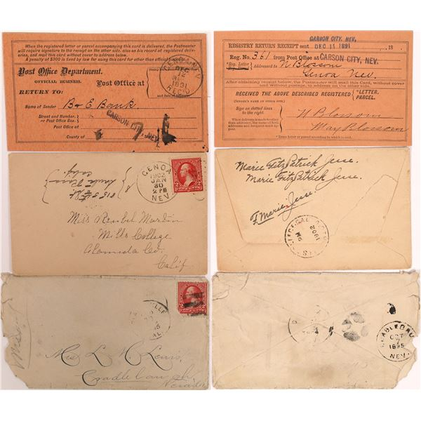 R-9 Cradlebaugh used as a Received Cancel on Back of Cover Plus Genoa Pieces  [130089]