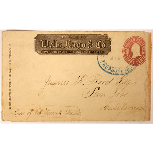 Treasure City, Nevada Wells Fargo Cancel addressed to Donner Party Survivor James Reed  [130013]