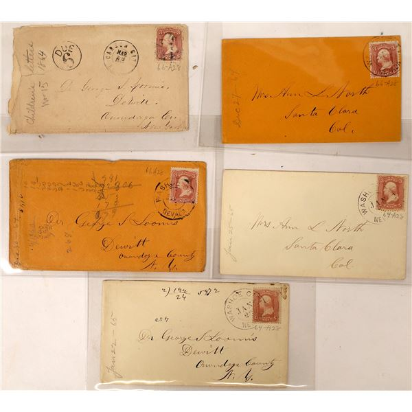 Four Washoe City and one Carson City Double Circle Postmark on Covers (Some Territorial)  [130011]