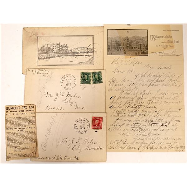 Three Nevada Railroad Cancelled Covers – one with Iconic Full Cover Riverside Hotel sketch on back