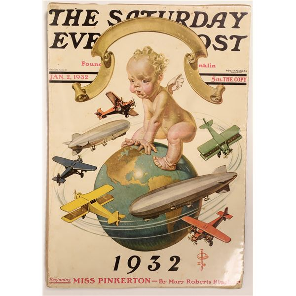 """Saturday Evening Post Leyendecker """"New Year's Baby"""" Cover 1932  [126996]"""