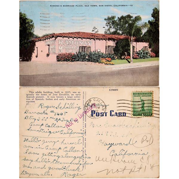 Postal History Postcard from Camp Callan, California in 1942  [132497]