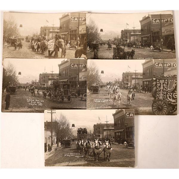 Five Fabulous Ely, Nevada Black & White RPC Circus Postcards  [130036]