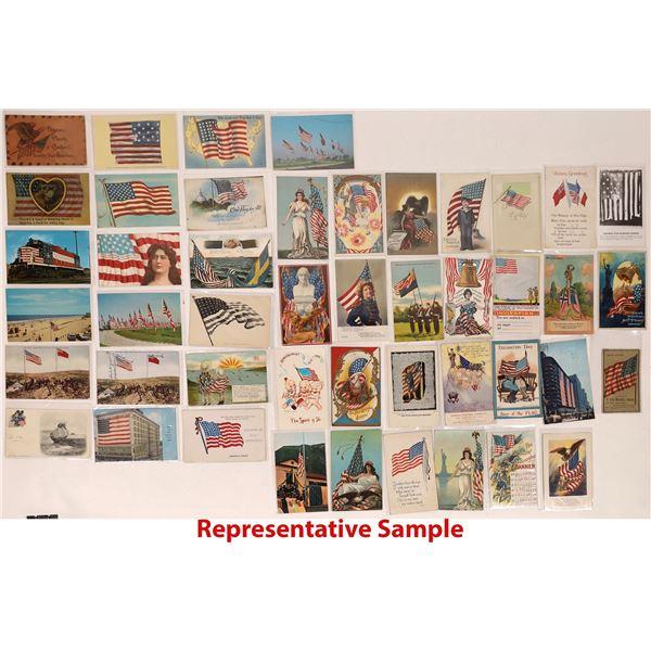 Patriotic U.S. Flag RPCs and Litho Postcards (100)  [125723]