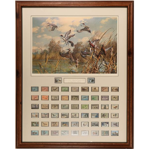 U. S. DOI Duck Stamps Yearly Collection with Signed Duck Stamp Painting  [135590]