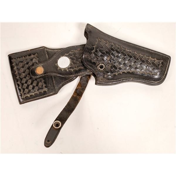 Basket Weave Belt and Holster for mid-frame Smith & Wesson Revolver   [129688]