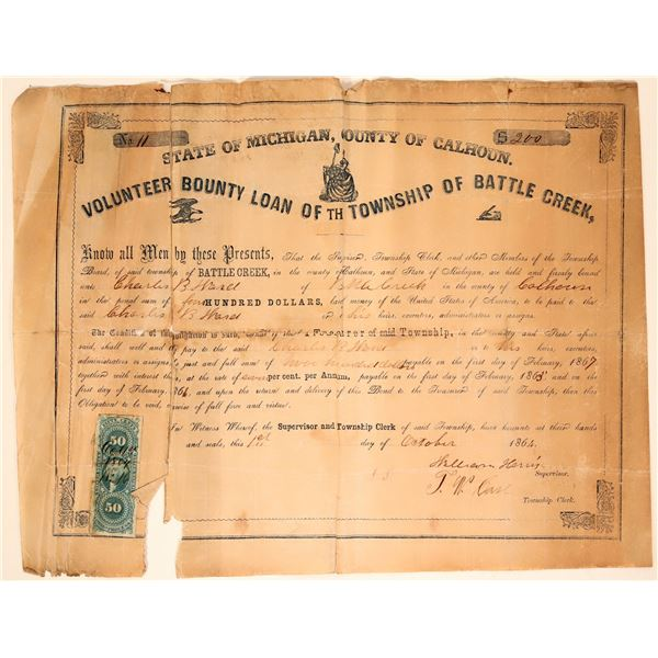 Volunteer County Loan for the Township of Battle Creek - Civil War (#1)  [105933]