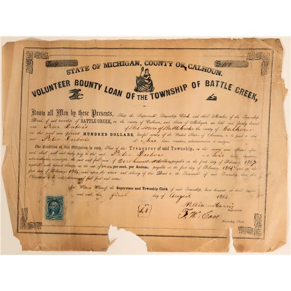 Volunteer County Loan for the Township of Battle Creek - Civil War (#2)  [105932]