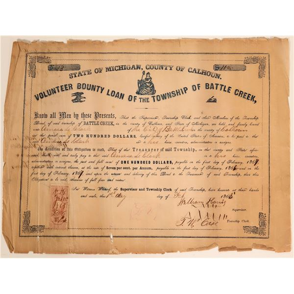 Volunteer County Loan for the Township of Battle Creek - Civil War (#3)  [105931]