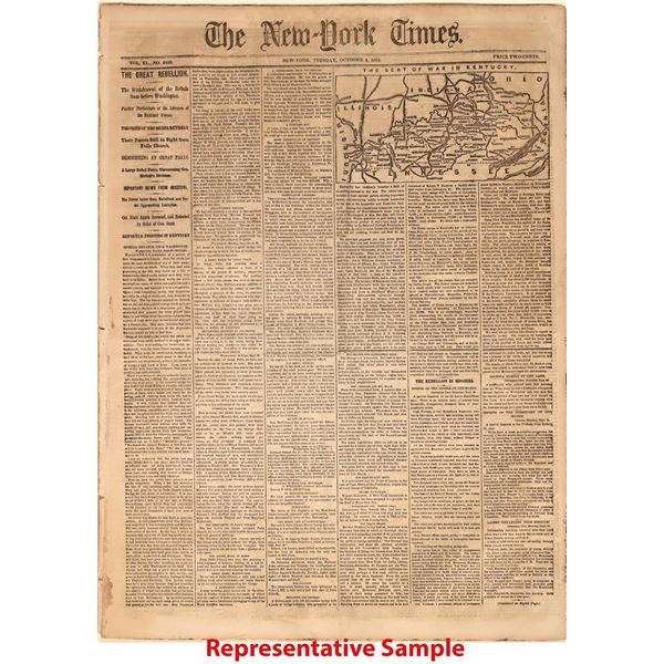 28 Civil War Editions of the New York Times, Excellent Condition, All with Maps, All Professionally