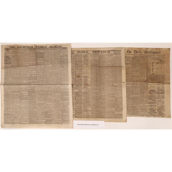 Confederate News and Southern Papers 1860's  [125075]