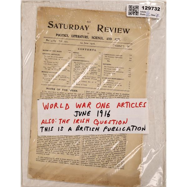 London Saturday Review Publication 1916 with World War I Articles  [129732]