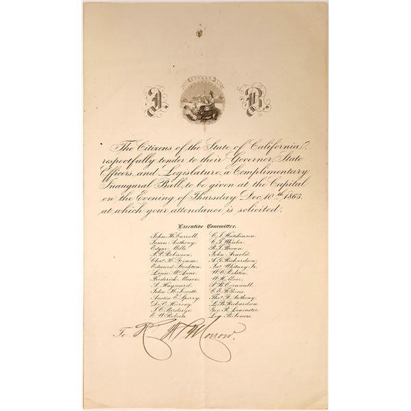 Invitation to 1863 Gubernatorial Inauguration  [131626]
