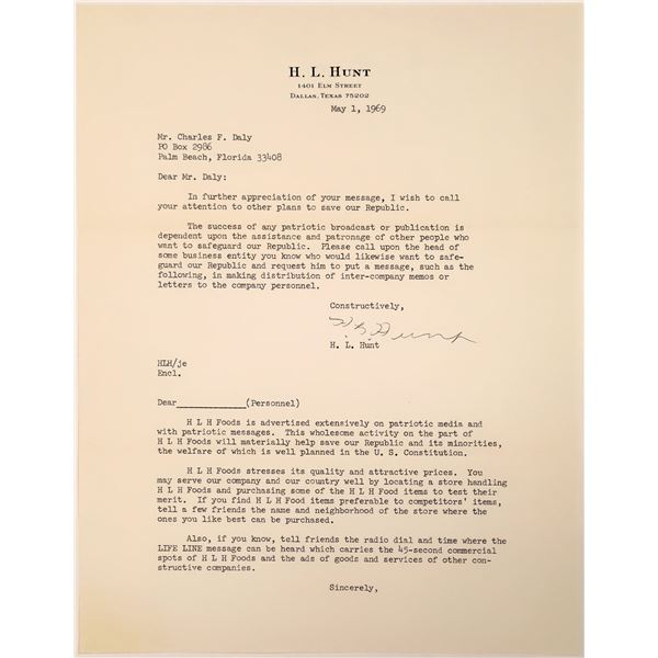 H. L. Hunt Autographed Letter Trying to Safeguard our Republic in 1969  [132083]