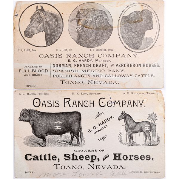 Oasis Ranch Company Large Business Card - Very Rare!  [132254]