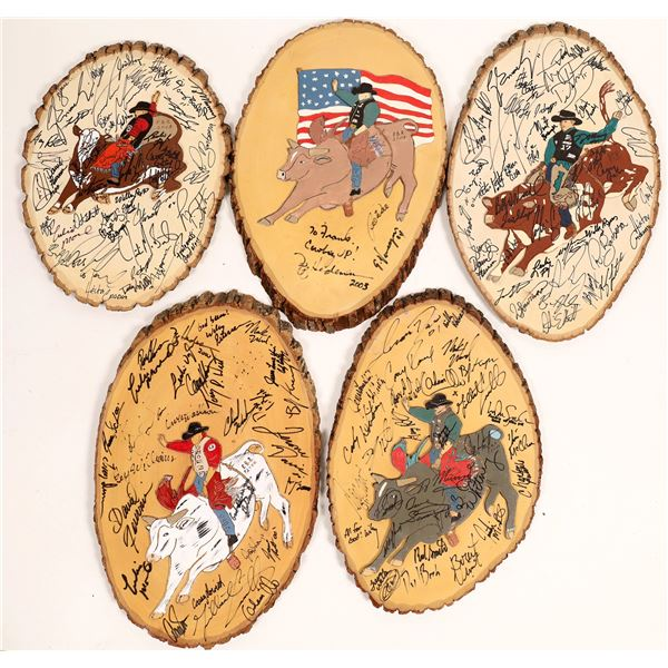 Pro Bull Riders' Autographed Tree Rounds (5)  [131848]