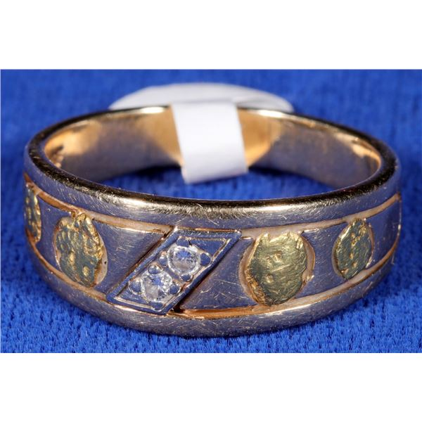 Gold Inset Nugget Ring  [133843]