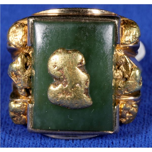 Jade and Gold Nugget Ring  [133845]