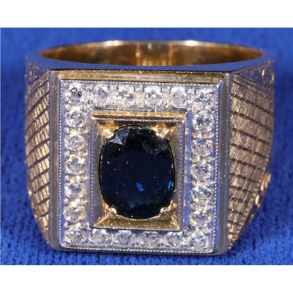 Sapphire and Diamond Man's Ring  [133840]