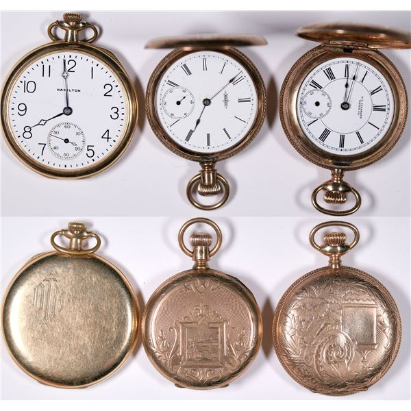 Three Gold Case Pocket Watches   [132502]