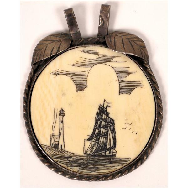 Small Handmade Scrimshaw Pendant  [131802]