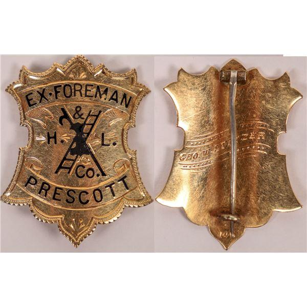 Gold Prescott Fire Department Badge, 1904  [118177]