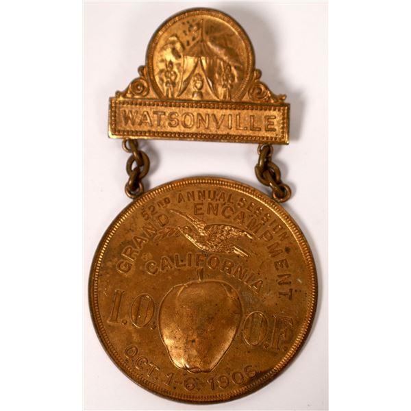 I.O.O.F.  1906 Grand Encampment Badge Plus Two California Tokens [129917]