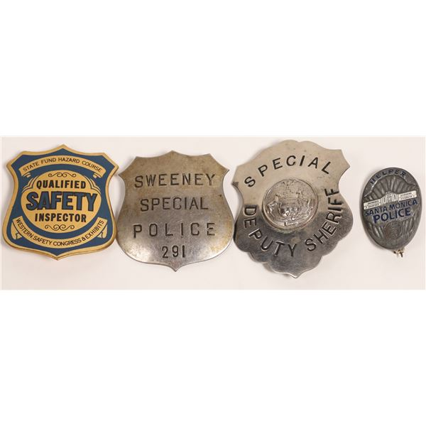 Four Police, Deputy, and Safety Badges  [132845]