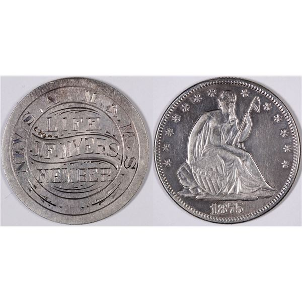 Engraved Seated Liberty Half Dollar of J. F. Myers, A Reno Druggist  [129318]