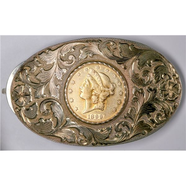 Gold-plated Sterling Silver Belt Buckle with VF/XF 1899 $20 Gold Coin [133721]