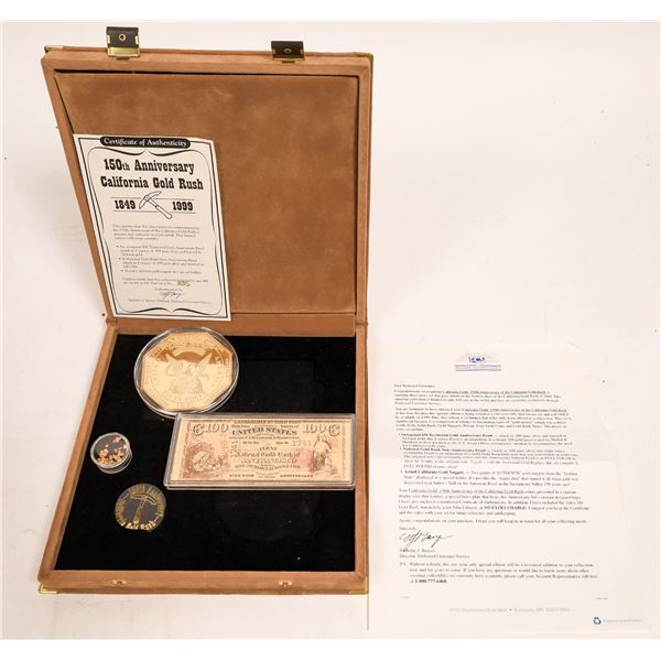 150th Anniversary California Gold Rush Set: Medal, Silver Bank Note, Gold Nuggets  [132028]