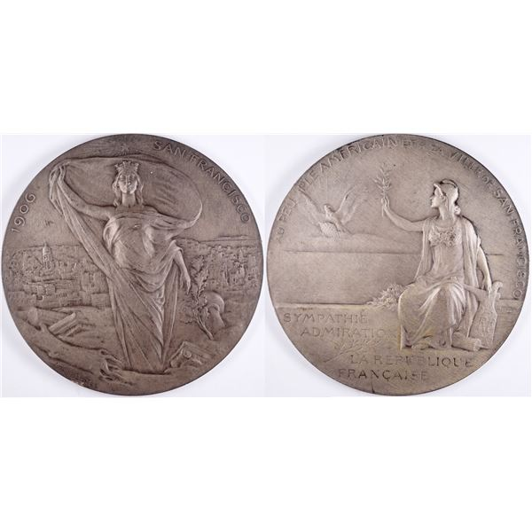 Louis Bottee Engraved 1906 SF Earthquake Medal   [132399]