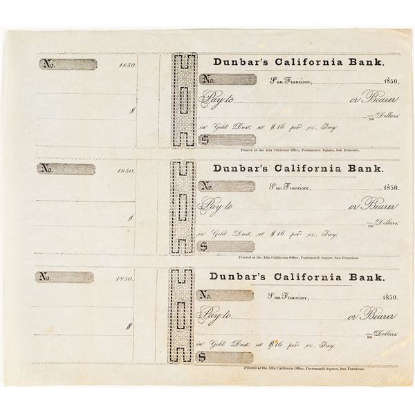 Dunbar's California Bank Notes,  Possibly the ONLY Remaining Uncut Sheet  [135363]