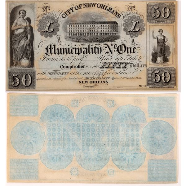 City of New Orleans Municipality No. One $50  Note  [131222]