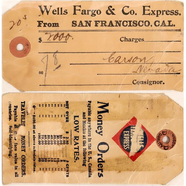 Wells Fargo & Co. Express Tag for $20 Gold to Carson City Nevada  [131217]
